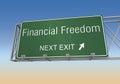 Financial freedom road sign 3d illustration