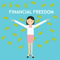 Financial freedom woman standing money rain