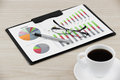 Financial graphs and charts on table Royalty Free Stock Photography