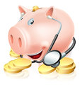 Financial health check conceptual illustration of a piggy bank surrounded by gold pennies wearing a stethoscope could also relate Stock Photography