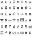 Financial icons collection black on white illustration featuring of grey or symbols with reflection background check my portfolio Royalty Free Stock Photo