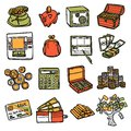Financial icons set business and money exchange sketch hand drawn isolated vector illustration Royalty Free Stock Photography