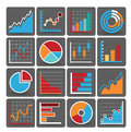Financial icons set of different business related with charts diagrams and graphs Royalty Free Stock Photos