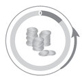 Financial Icons, showing a decrease in cash. A pile of coins Royalty Free Stock Photo