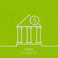 Financial institution with a coin on green background triangles the symbol of the banking system minimal outline Stock Images