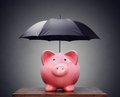 Financial insurance or protection piggy bank with umbrella Royalty Free Stock Photo