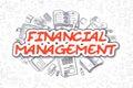 Financial Management - Doodle Red Text. Business Concept.
