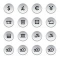 Financial and money icon set round shape Royalty Free Stock Photography
