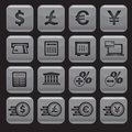 Financial and money icon set square shape Stock Photo