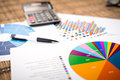 Financial paper charts and graphs on the table.business Royalty Free Stock Photo