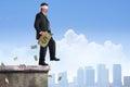 Financial Risk Success Plan Man Walking Off Building w Money Royalty Free Stock Photo