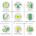 Financial Security Business Banking Growth Icon Set Modern Digital Technology Energy Savings Royalty Free Stock Photo