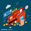 Financial security, online banking, money protection vector concept Royalty Free Stock Photo