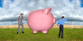 Financial security a pink piggy bank representing money savings and investments sits in a field while a guard or policeman watches Stock Images
