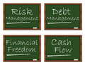 Financial situation classroom board risk management debt management freedom and cash flow text on Stock Photos