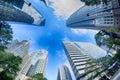 Financial skyscraper buildings in Charlotte Royalty Free Stock Photo