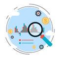 Financial statistics, market trends analysis, business chart vector concept