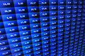 Financial and stock exchange data on computer screen shallow dof effect colored ticker board on bar chart data financial graph Royalty Free Stock Image