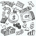 Financial Symbol Doodle Set Stock Photos