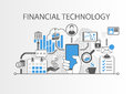 Financial Technology / Fin-Tech concept background with hand holding smartphone