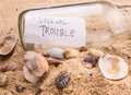 Financial trouble message in a bottle iii concept image of Stock Photography