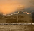 Financial vulnerability burning city as a metaphor for in a competitive economic environment Stock Photo