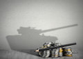 Financing army concept, money with weapon shadow Royalty Free Stock Photo