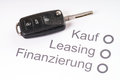 Financing a car key on sheet of paper with the german words buying leasing and Royalty Free Stock Images