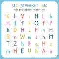 Find and circle every letter H. Worksheet for kindergarten and preschool. Exercises for children
