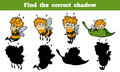 Find the correct shadow bees game for children Stock Images