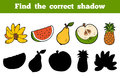Find the correct shadow fruits education game for children Royalty Free Stock Image