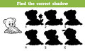 Find the correct shadow game for children bear Stock Photography