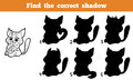 Find the correct shadow game for children cat Royalty Free Stock Photos