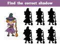 Find the correct shadow halloween character witch game for children Stock Photo