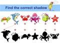 Find correct shadow. Kids educational game. Sea animals. Turtle, shark, crab, octopus, monkfish, starfish Royalty Free Stock Photo