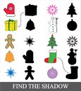 Find the correct shadow. Shadow matching game for children. Christmas new year icons.