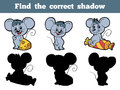 Find the correct shadow mouse game for children Stock Images