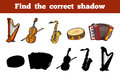 Find the correct shadow musical instruments education game for children Royalty Free Stock Photos
