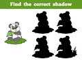 Find the correct shadow panda and leaf game for children Stock Images