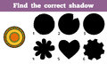 Find the correct shadow a plate with geometric pattern education game for children Stock Photo
