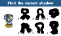 Find the correct shadow scarf with geometric ornaments education game for children Royalty Free Stock Image