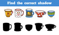 Find the correct shadow set of cups education game for children Stock Photography