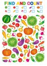 Find and count. Printable worksheet for kindergarten and preschool. Exercises for study numbers. Bright Vegetable harvest chili pe