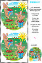 Find the differences bunnies and carrots picture puzzle seven between two pictures of plus same task text in russian german Stock Photo