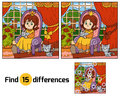 Find differences for children. Little princess on a throne Royalty Free Stock Photo