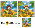 Find differences for children. Pirate and treasure chest