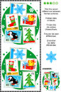 Find the differences christmas or new year visual puzzle themed picture seven between two pictures of postage stamps snowflake Royalty Free Stock Photo