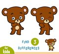 Find differences, education game, Bear