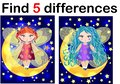 Find differences education game for children, fairy in the moon.