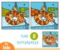 Find differences education game, Four cats